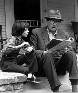 Gregory Peck and Mary Badham as Atticus and Scout Finch in the 1962 Film, To Kill a Mockingbird